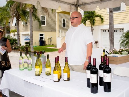 Food and wine on pine wine tent